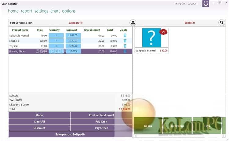 Cash Register Pro settings