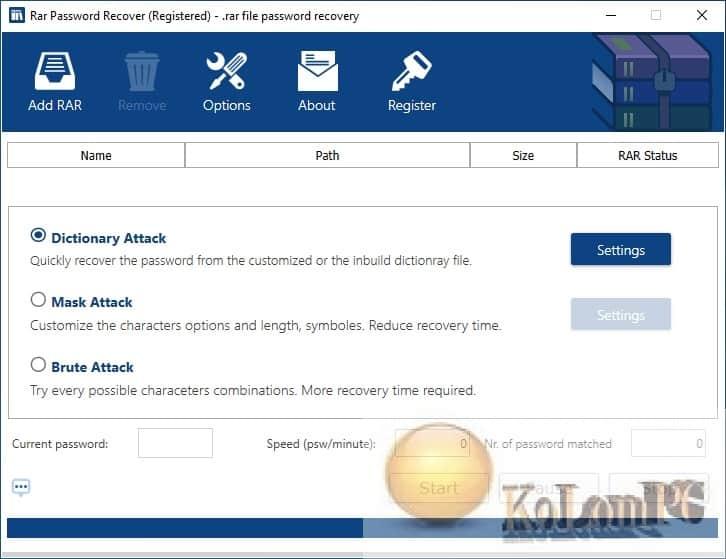 RAR Password Recover settings