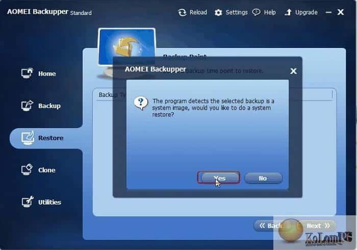 AOMEI Backupper settings