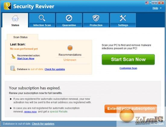 Reviversoft Security Reviver  settings