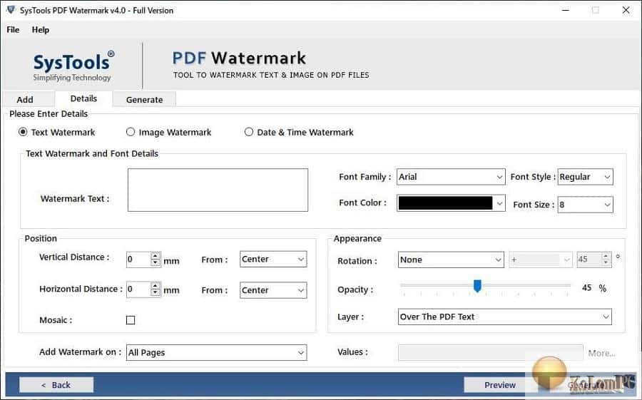 SysTools PDF Watermark Remover settings