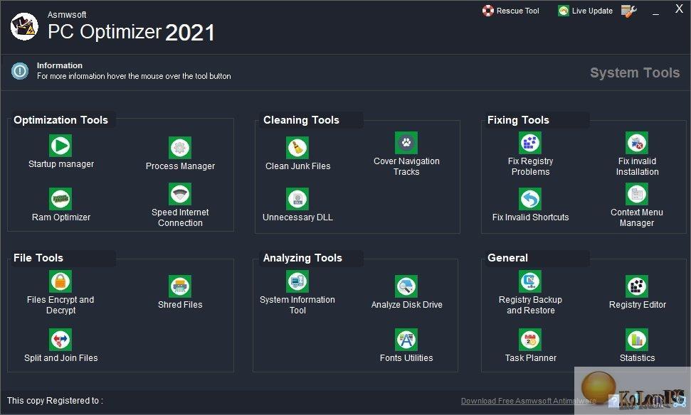 Asmwsoft PC Optimizer settings