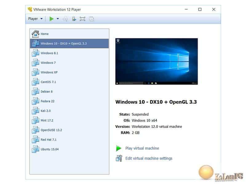 VMware Workstation Player settings