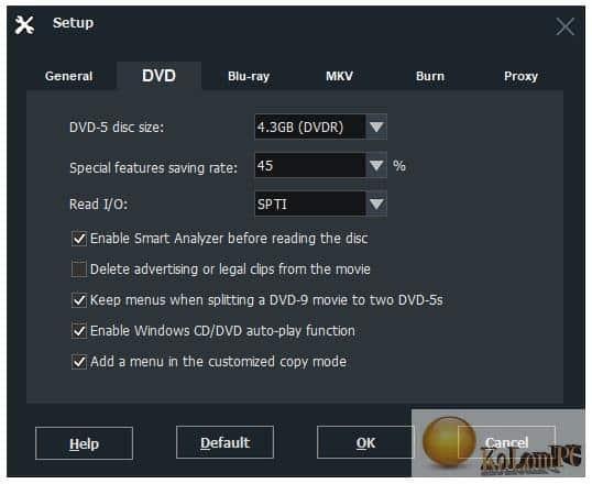 DVD-Cloner settings for dvd