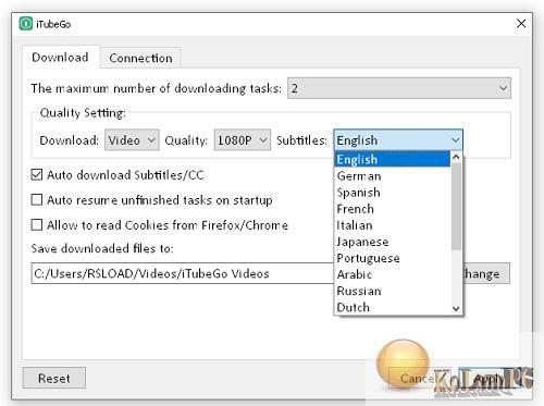 iTubeGo YouTube Downloader settings