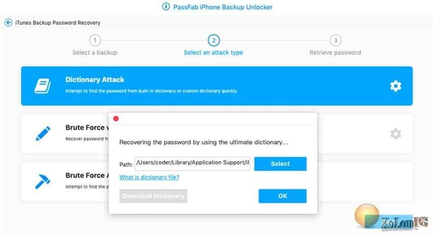 PassFab iPhone Backup Unlocker settings