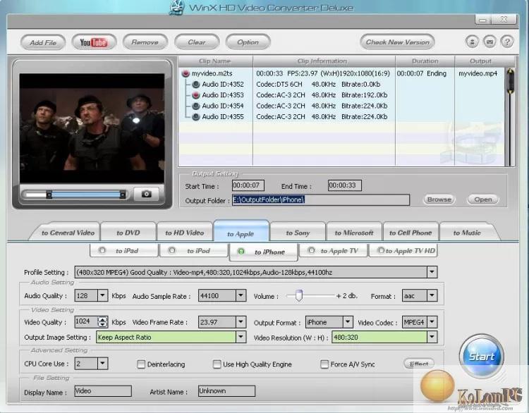 WinX HD Video Converter Deluxe settings