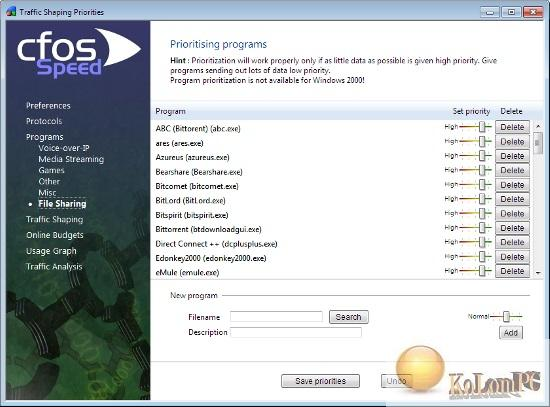 cFosSpeed settings