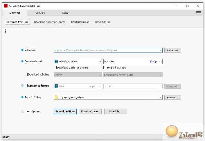 All Video Downloader Pro main menu