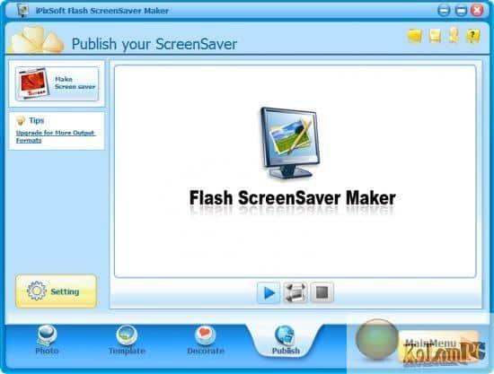 iPixSoft Flash ScreenSaver Maker settings
