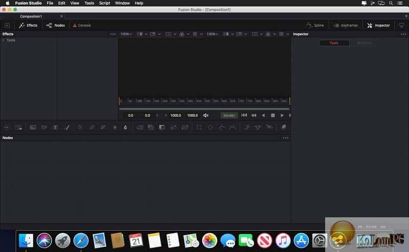 Blackmagic Design Fusion Studio main menu