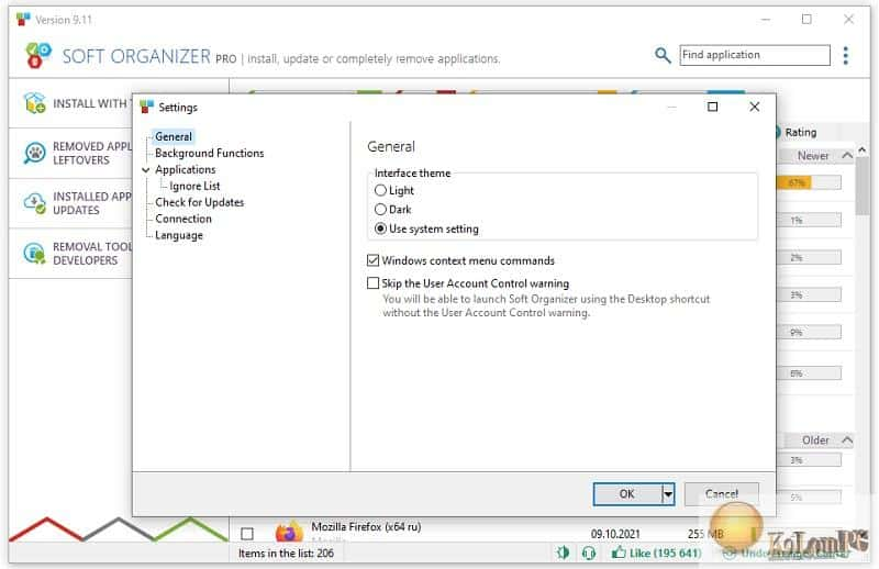 Soft Organizer settings